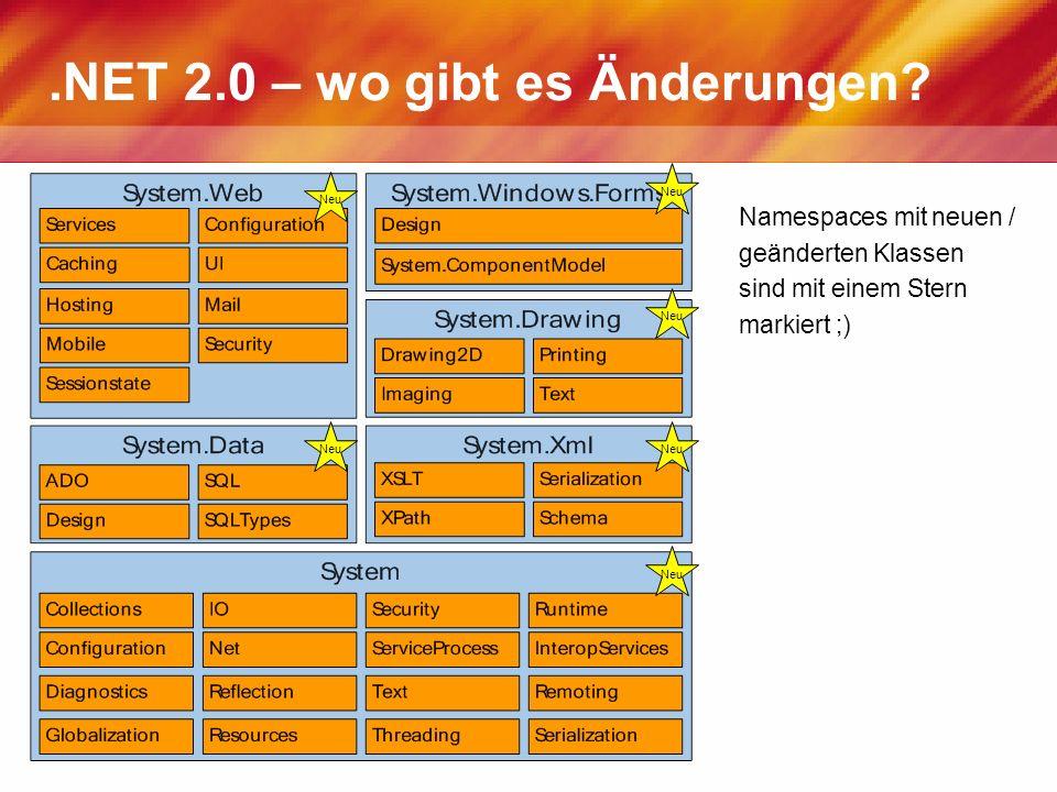 .NET 2.0 – wo gibt es Änderungen