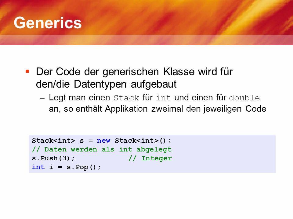 Generics Der Code der generischen Klasse wird für den/die Datentypen aufgebaut.