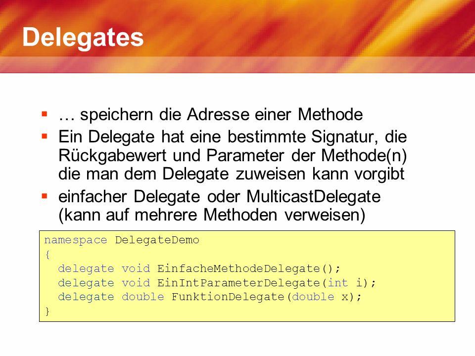 Delegates … speichern die Adresse einer Methode
