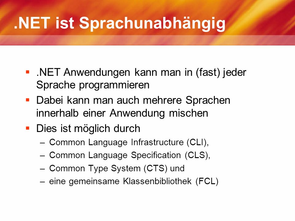 .NET ist Sprachunabhängig