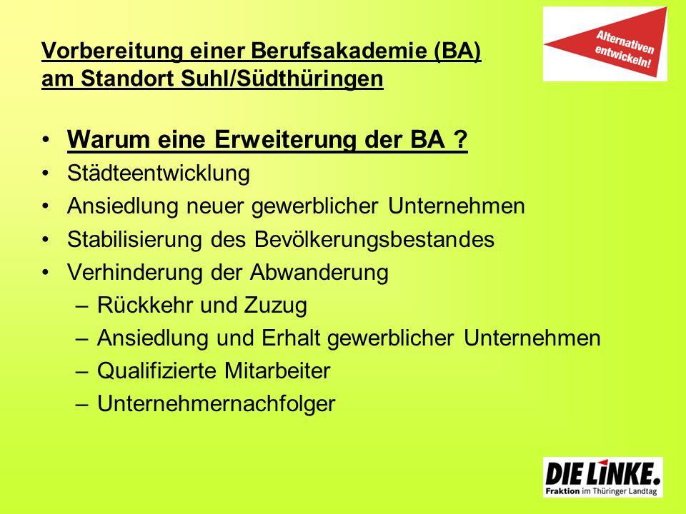Vorbereitung einer Berufsakademie (BA) am Standort Suhl/Südthüringen