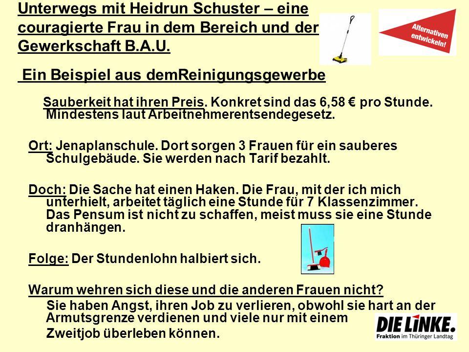 Unterwegs mit Heidrun Schuster – eine couragierte Frau in dem Bereich und der Gewerkschaft B.A.U. Ein Beispiel aus demReinigungsgewerbe