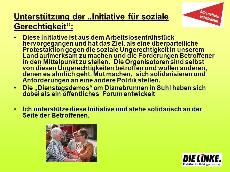 """Unterstützung der """"Initiative für soziale Gerechtigkeit :"""