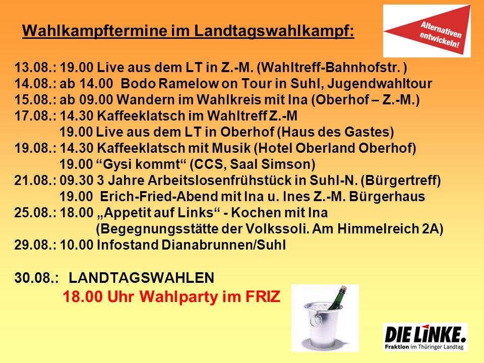 Wahlkampftermine im Landtagswahlkampf: