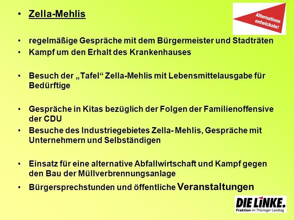 Zella-Mehlisregelmäßige Gespräche mit dem Bürgermeister und Stadträten. Kampf um den Erhalt des Krankenhauses.