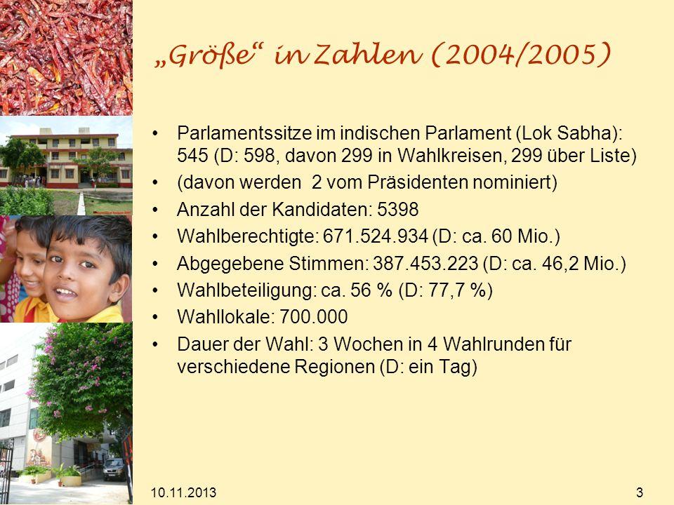 """""""Größe in Zahlen (2004/2005) Parlamentssitze im indischen Parlament (Lok Sabha): 545 (D: 598, davon 299 in Wahlkreisen, 299 über Liste)"""