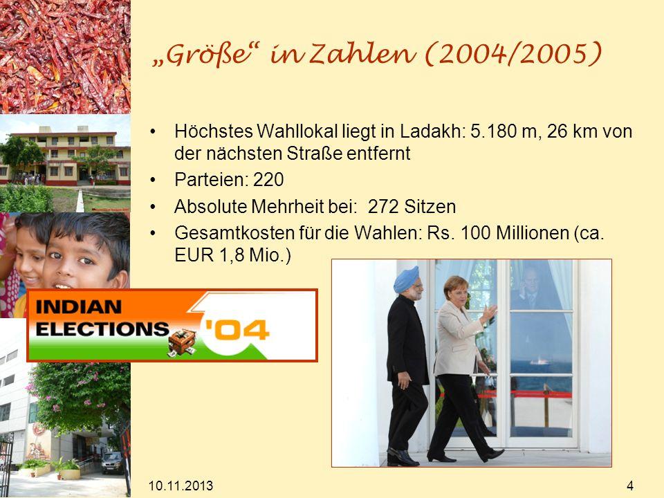 """""""Größe in Zahlen (2004/2005) Höchstes Wahllokal liegt in Ladakh: 5.180 m, 26 km von der nächsten Straße entfernt."""