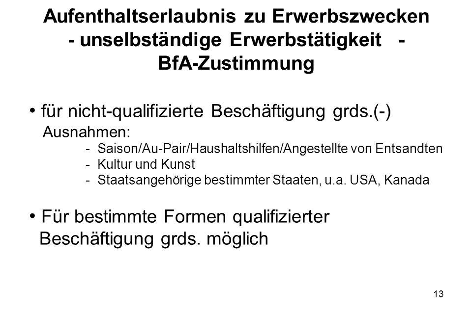 für nicht-qualifizierte Beschäftigung grds.(-)
