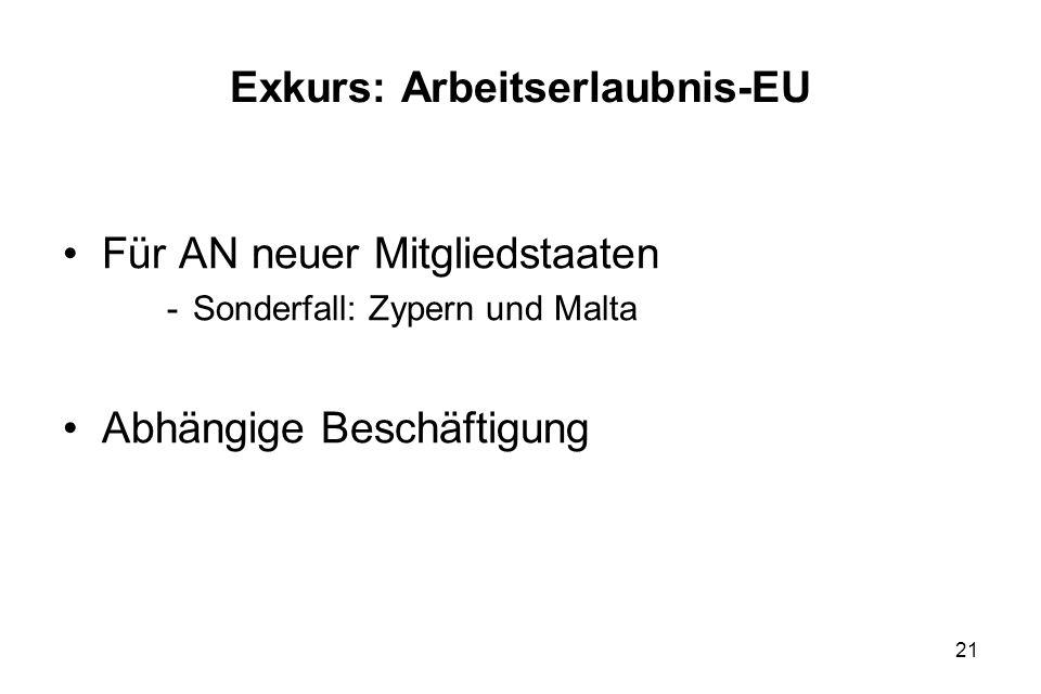 Exkurs: Arbeitserlaubnis-EU