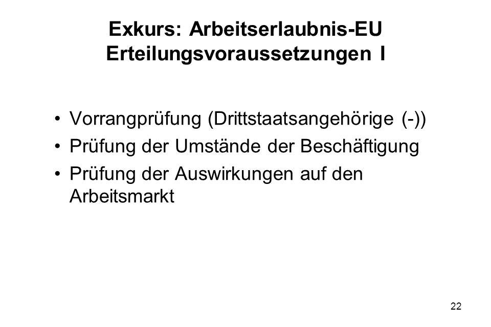 Exkurs: Arbeitserlaubnis-EU Erteilungsvoraussetzungen I