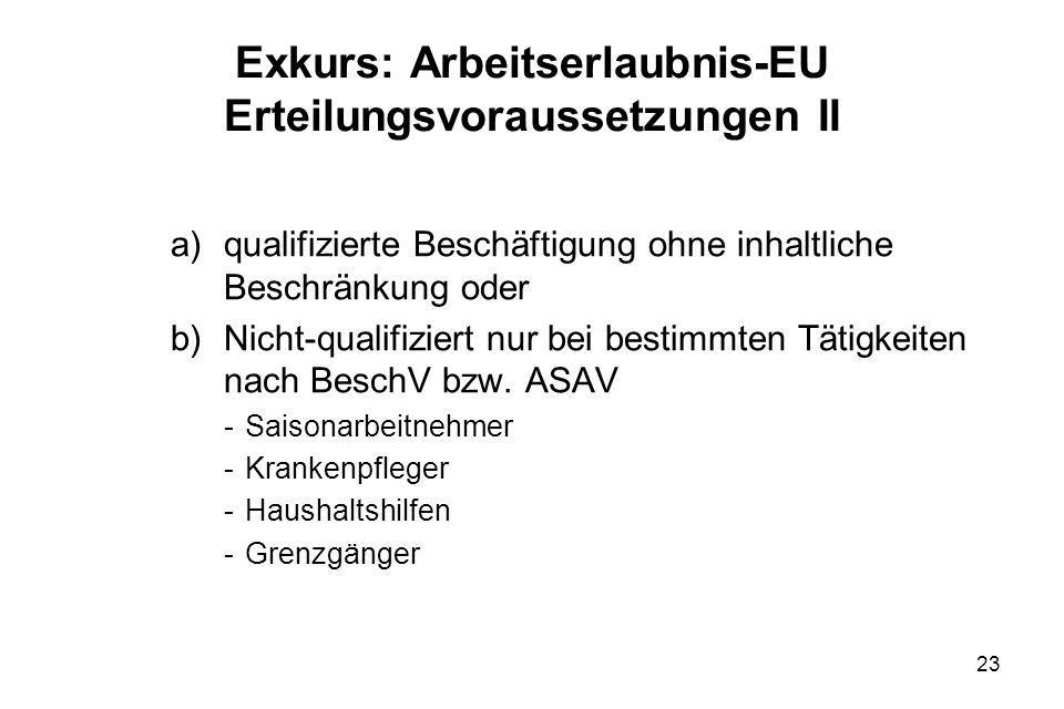 Exkurs: Arbeitserlaubnis-EU Erteilungsvoraussetzungen II