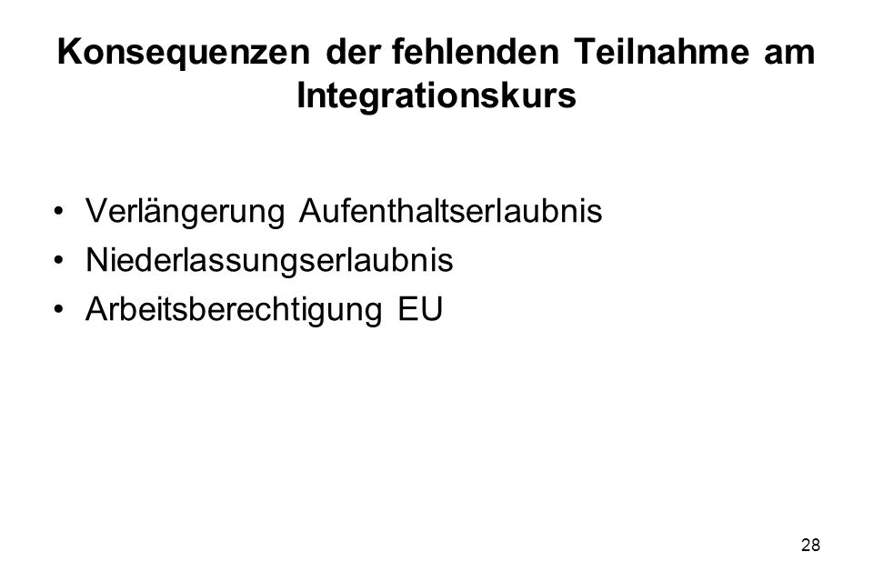 Konsequenzen der fehlenden Teilnahme am Integrationskurs