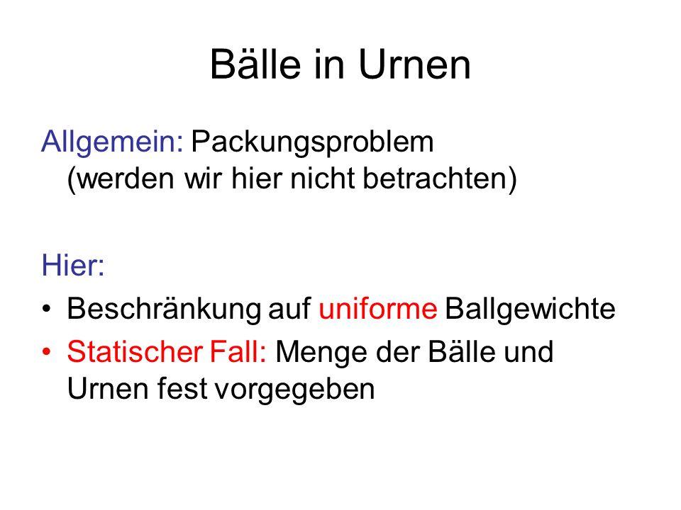 Bälle in Urnen Allgemein: Packungsproblem (werden wir hier nicht betrachten) Hier: Beschränkung auf uniforme Ballgewichte.