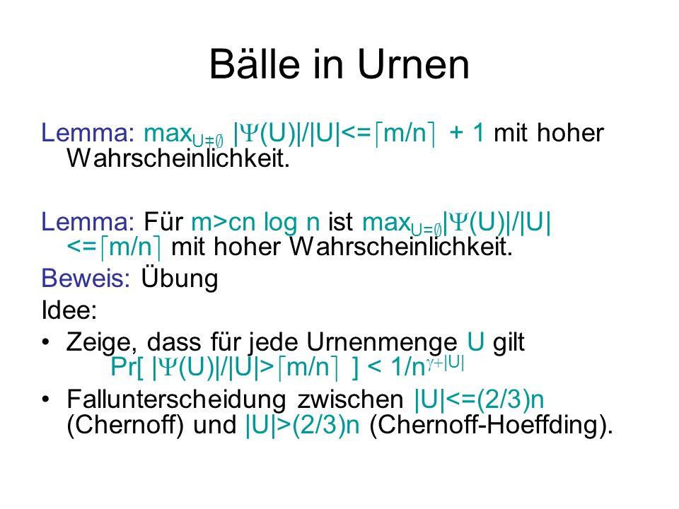 Bälle in Urnen Lemma: maxU=; |(U)|/|U|<=dm/ne + 1 mit hoher Wahrscheinlichkeit.