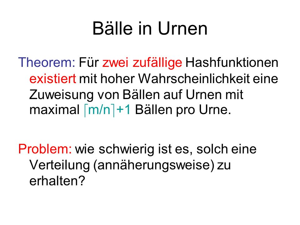 Bälle in Urnen