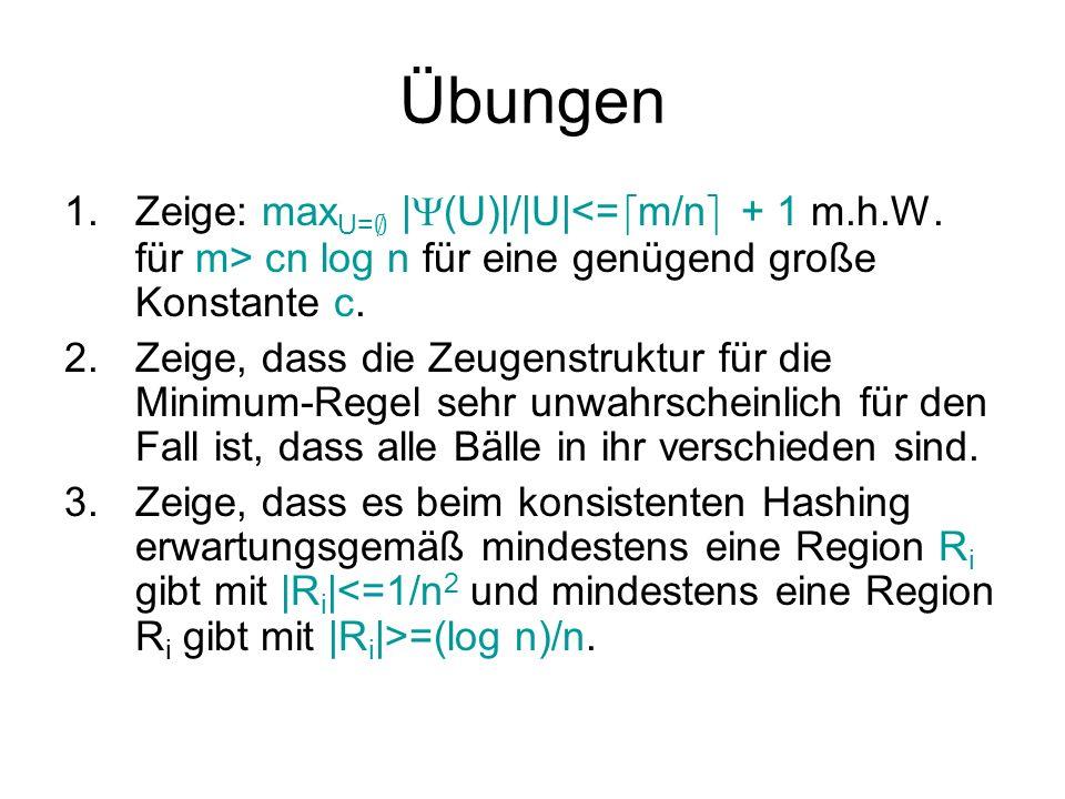 Übungen Zeige: maxU=; |(U)|/|U|<=dm/ne + 1 m.h.W. für m> cn log n für eine genügend große Konstante c.