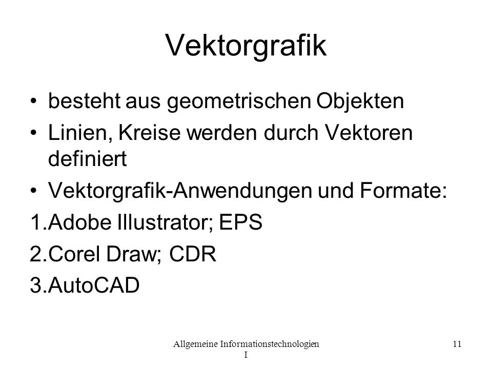 Vektorgrafik besteht aus geometrischen Objekten