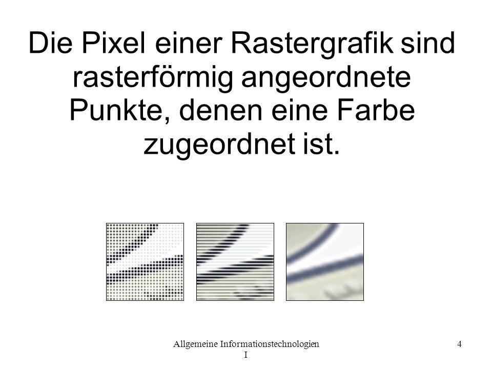 Die Pixel einer Rastergrafik sind rasterförmig angeordnete Punkte, denen eine Farbe zugeordnet ist.