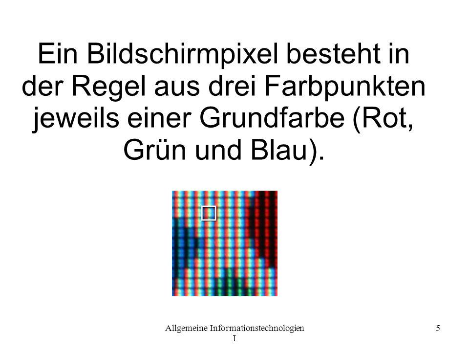 Ein Bildschirmpixel besteht in der Regel aus drei Farbpunkten jeweils einer Grundfarbe (Rot, Grün und Blau).
