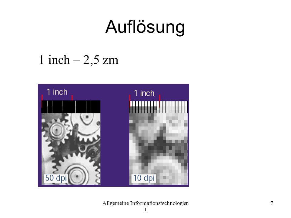 Auflösung 1 inch – 2,5 zm