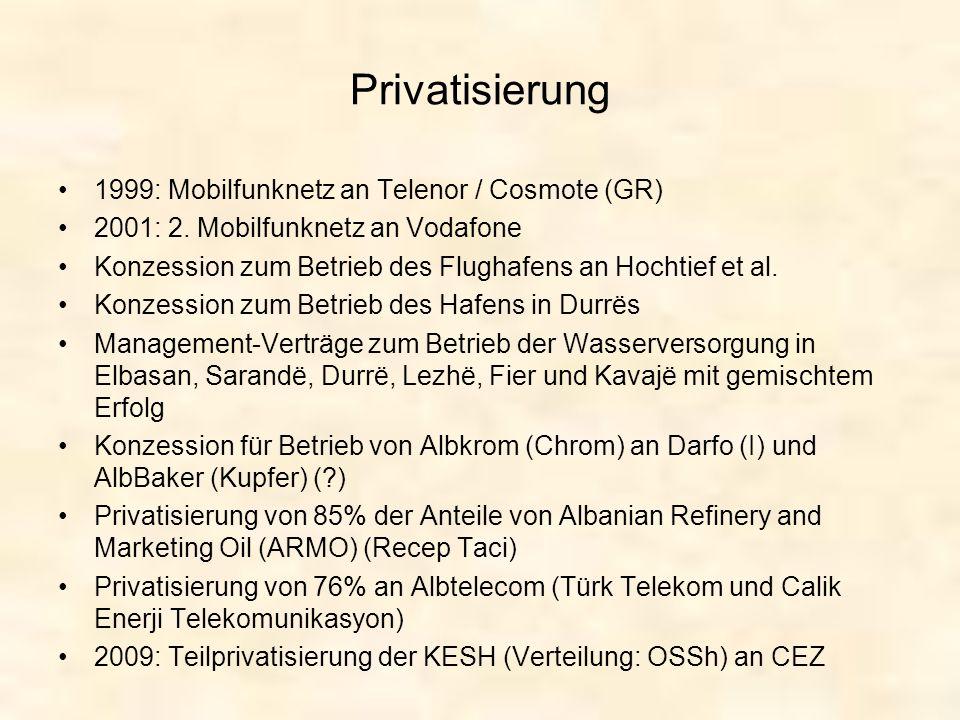 Privatisierung 1999: Mobilfunknetz an Telenor / Cosmote (GR)