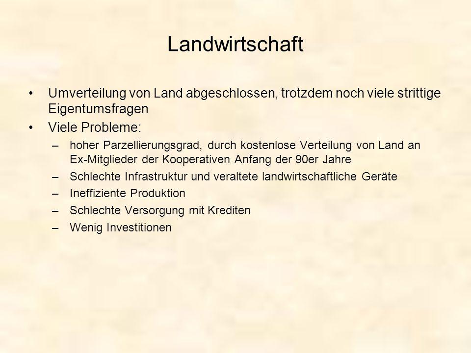 Landwirtschaft Umverteilung von Land abgeschlossen, trotzdem noch viele strittige Eigentumsfragen. Viele Probleme: