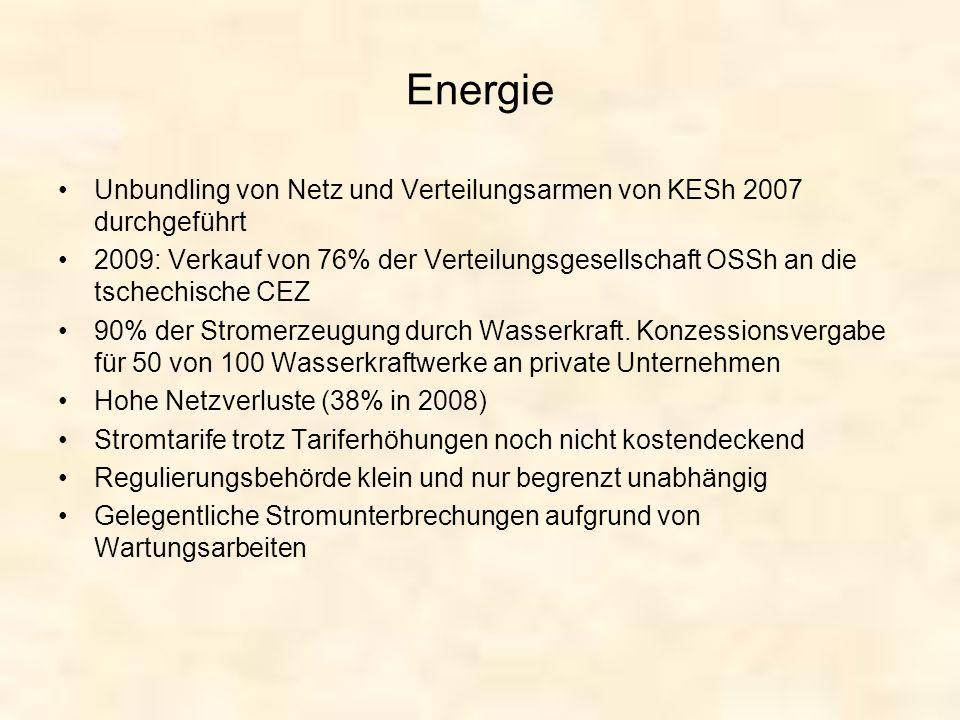 Energie Unbundling von Netz und Verteilungsarmen von KESh 2007 durchgeführt.