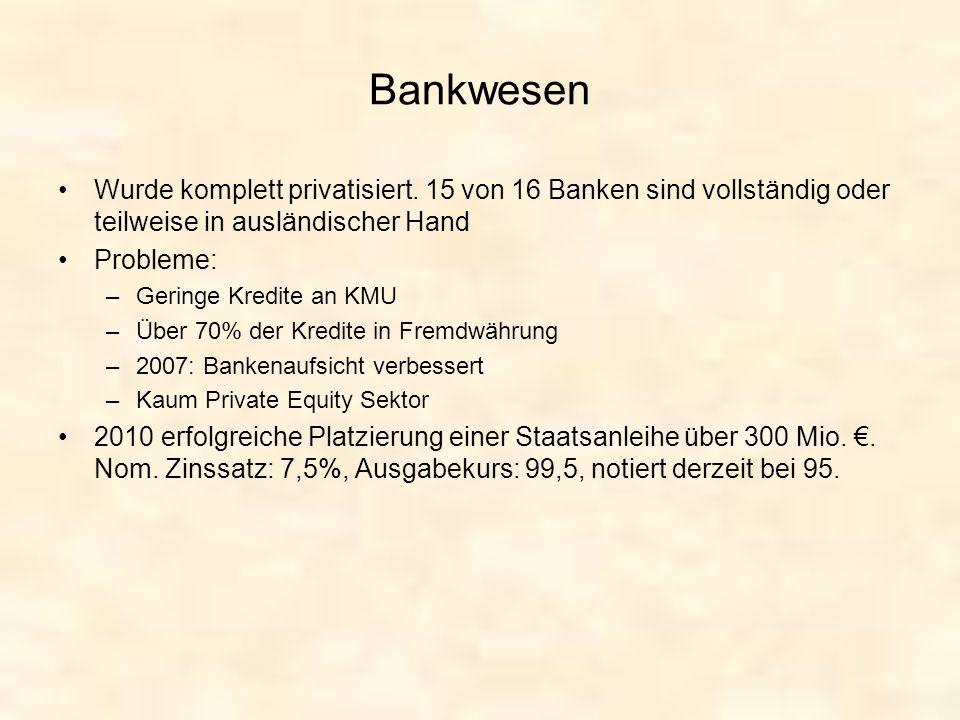 Bankwesen Wurde komplett privatisiert. 15 von 16 Banken sind vollständig oder teilweise in ausländischer Hand.