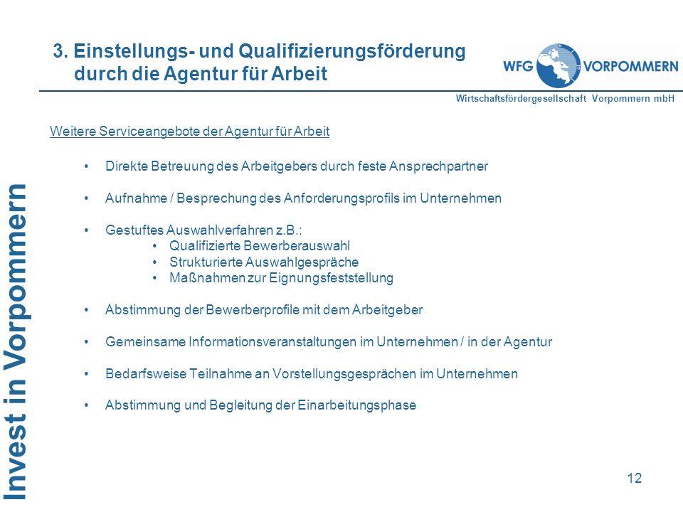 3. Einstellungs- und Qualifizierungsförderung durch die Agentur für Arbeit