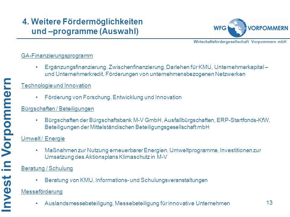 4. Weitere Fördermöglichkeiten und –programme (Auswahl)