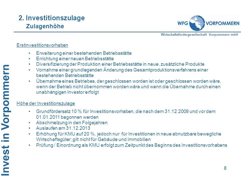 2. Investitionszulage Zulagenhöhe Erstinvestitionsvorhaben