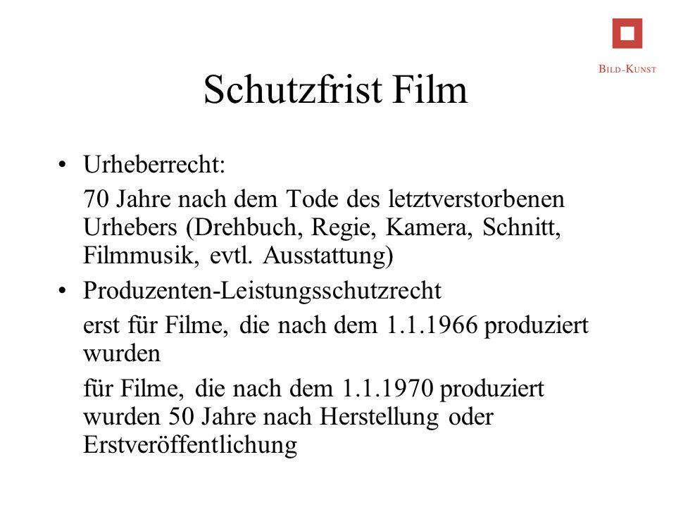 Schutzfrist Film Urheberrecht: