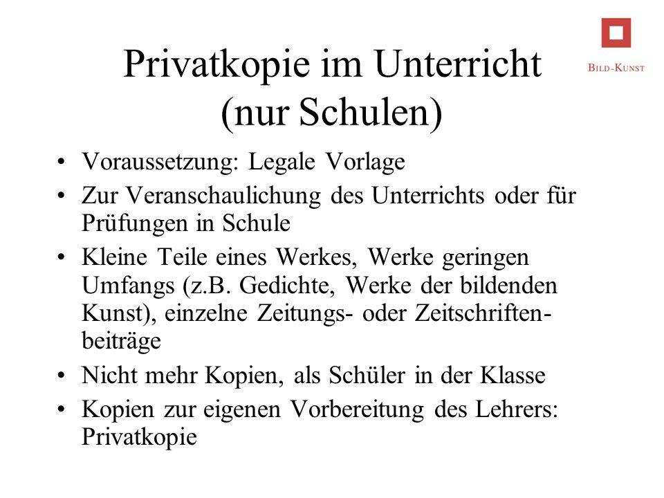 Privatkopie im Unterricht (nur Schulen)