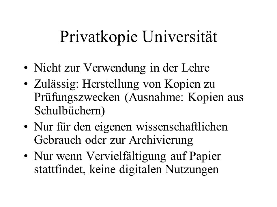 Privatkopie Universität