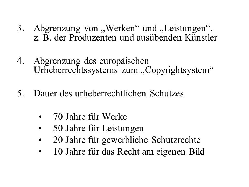 """Abgrenzung von """"Werken und """"Leistungen , z. B"""