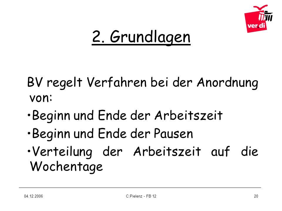 2. Grundlagen BV regelt Verfahren bei der Anordnung von: