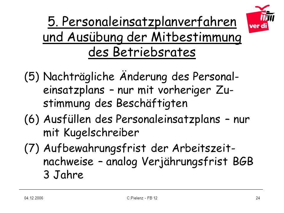 5. Personaleinsatzplanverfahren und Ausübung der Mitbestimmung des Betriebsrates