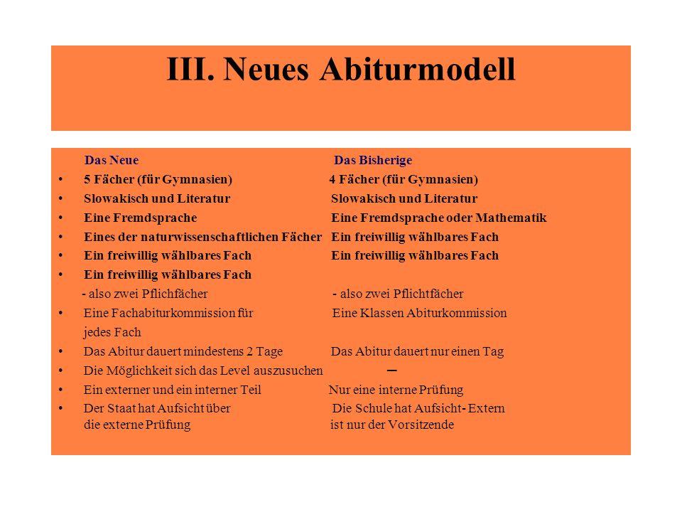III. Neues Abiturmodell