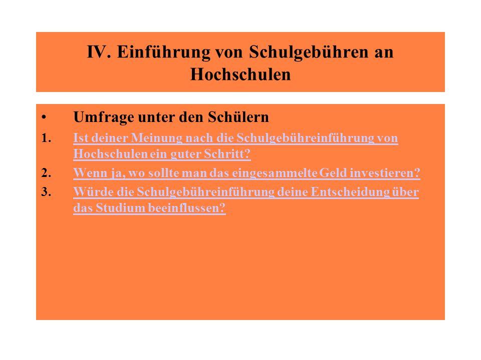IV. Einführung von Schulgebühren an Hochschulen