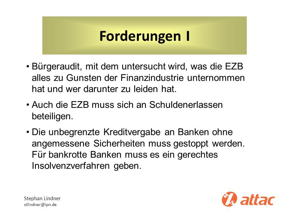 Forderungen I Bürgeraudit, mit dem untersucht wird, was die EZB alles zu Gunsten der Finanzindustrie unternommen hat und wer darunter zu leiden hat.
