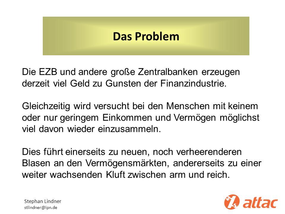 Das ProblemDie EZB und andere große Zentralbanken erzeugen derzeit viel Geld zu Gunsten der Finanzindustrie.