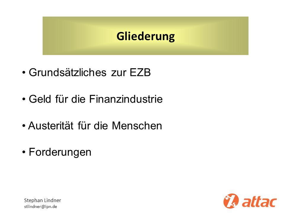 Gliederung Grundsätzliches zur EZB Geld für die Finanzindustrie