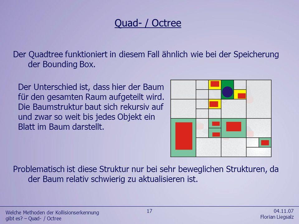 Welche Methoden der Kollisionserkennung gibt es – Quad- / Octree