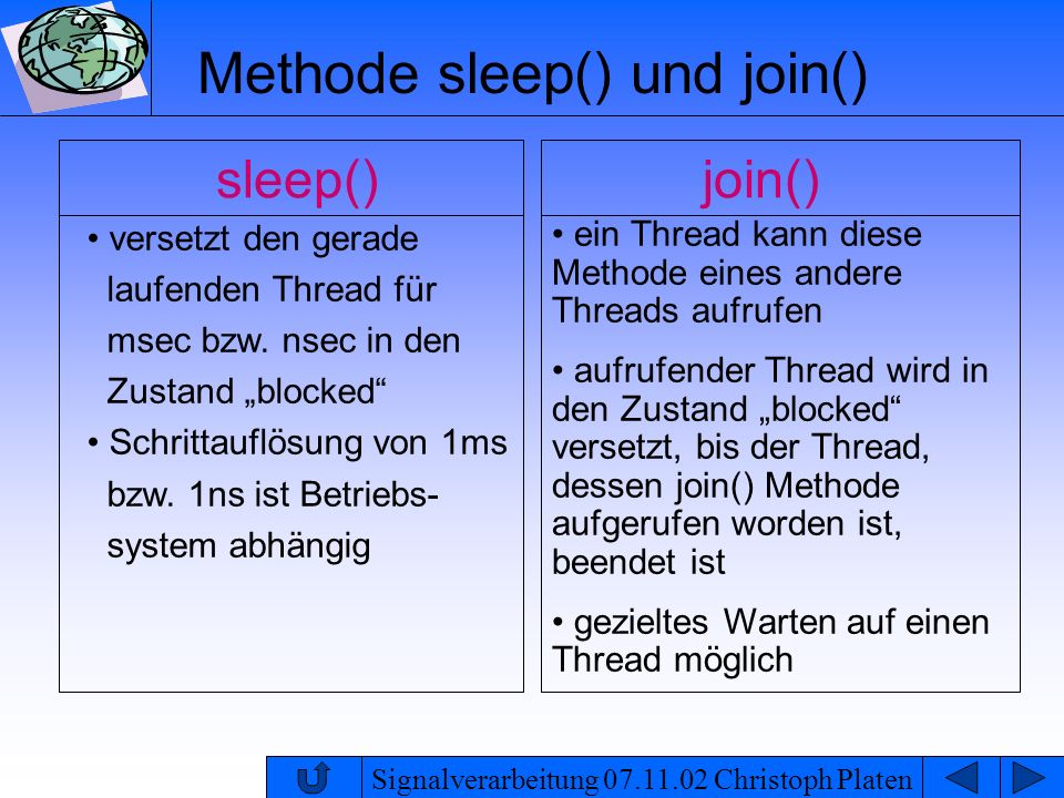 Methode sleep() und join()