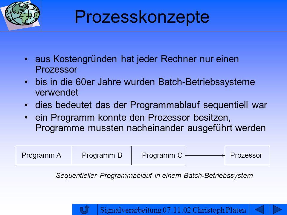Prozesskonzepte aus Kostengründen hat jeder Rechner nur einen Prozessor. bis in die 60er Jahre wurden Batch-Betriebssysteme verwendet.