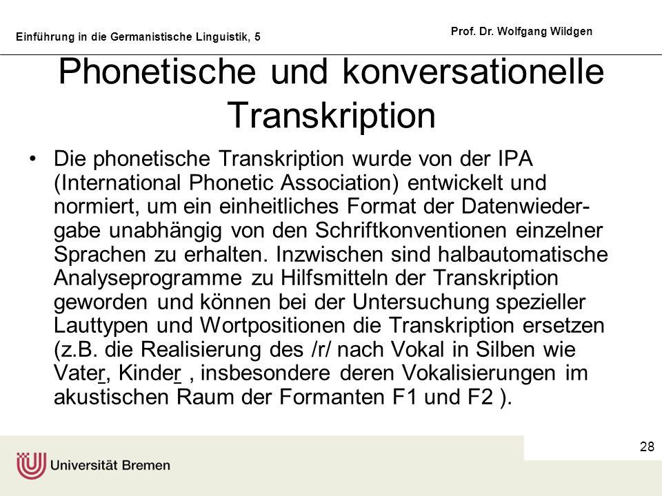 Phonetische und konversationelle Transkription