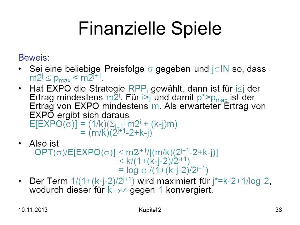 Finanzielle Spiele Beweis: