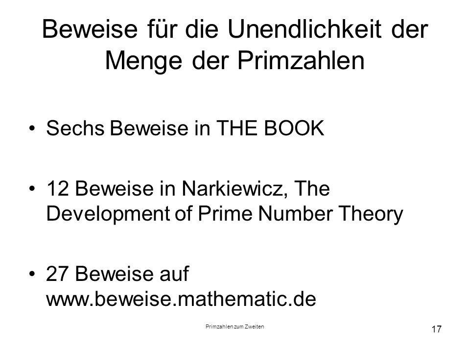 Beweise für die Unendlichkeit der Menge der Primzahlen