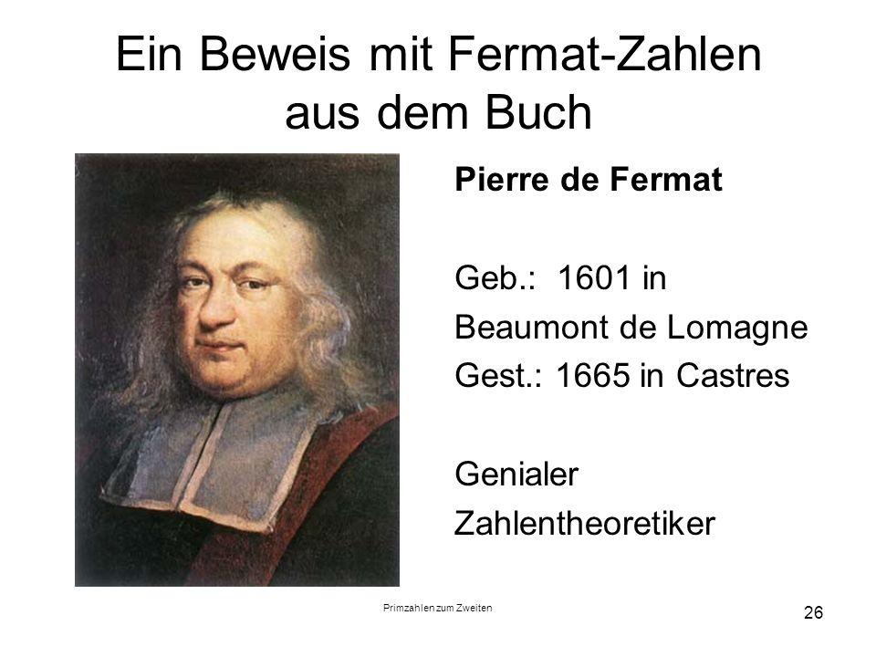 Ein Beweis mit Fermat-Zahlen aus dem Buch