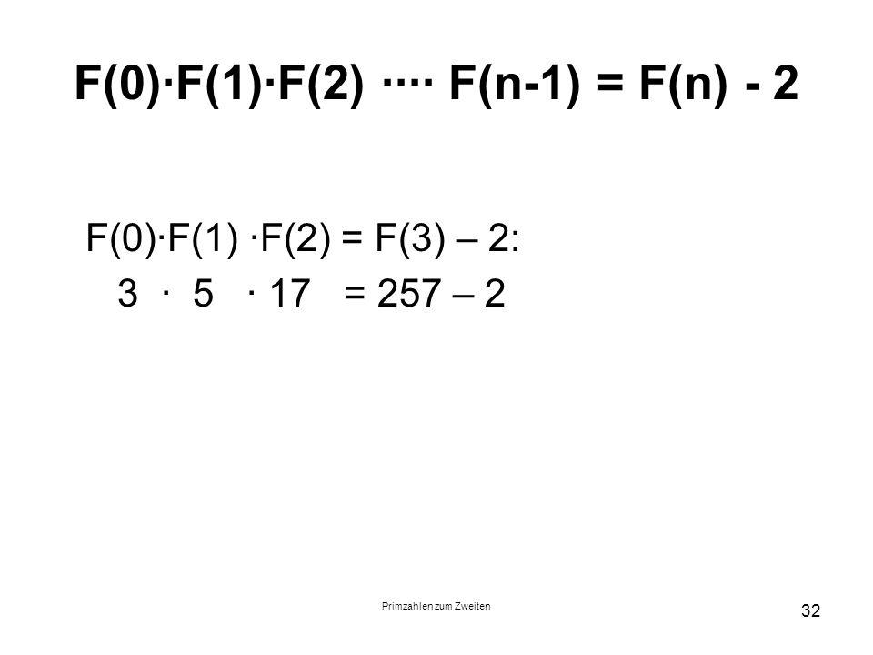 F(0)∙F(1)∙F(2) ∙∙∙∙ F(n-1) = F(n) - 2